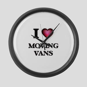 I Love Moving Vans Large Wall Clock