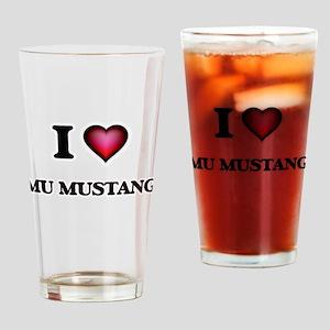 I Love Mu Mustang Drinking Glass