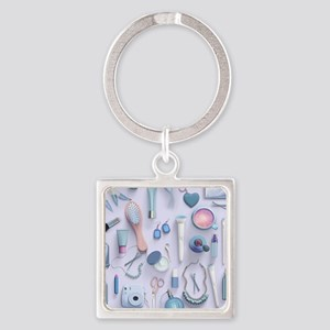Blue Vanity Table Square Keychain