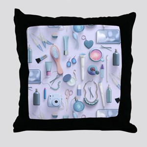 Blue Vanity Table Throw Pillow