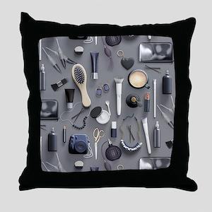 Black Vanity Table Throw Pillow