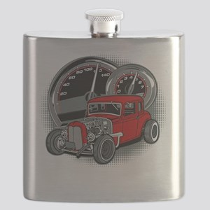 Red Rat Rod Vintage Hot Rod Flask
