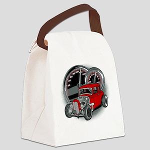 Red Rat Rod Vintage Hot Rod Canvas Lunch Bag