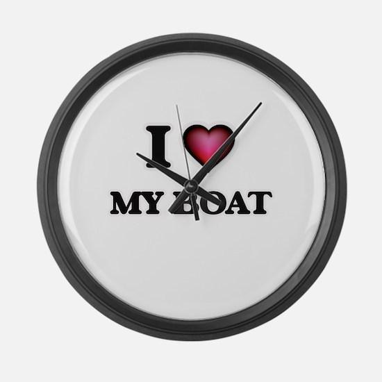 I Love My Boat Large Wall Clock