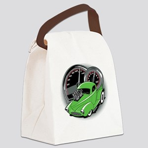 Hot Rod Bright Green Pickup Truck Canvas Lunch Bag