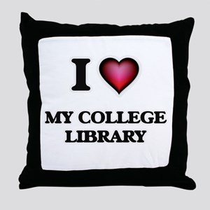 I love My College Library Throw Pillow