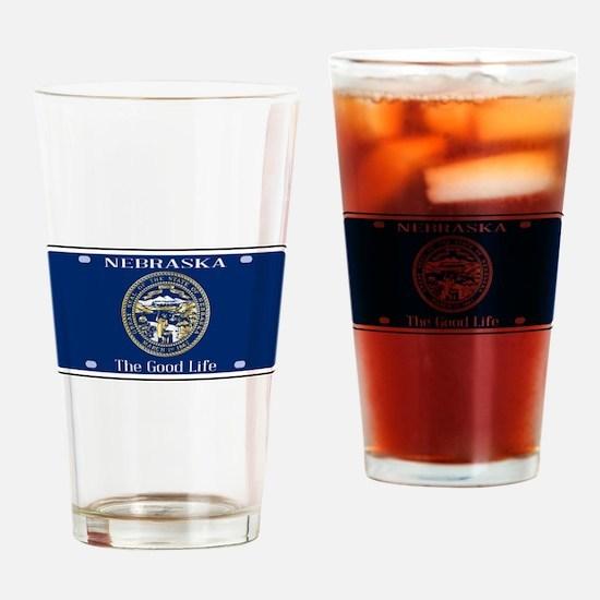 Nebraska License Plate Flag Drinking Glass