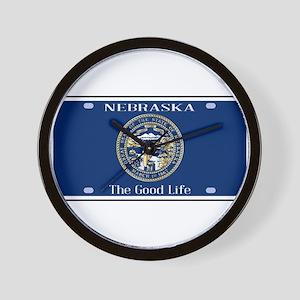 Nebraska License Plate Flag Wall Clock