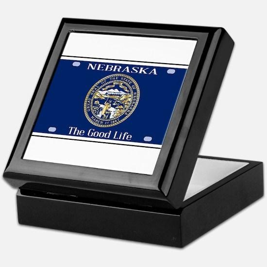 Nebraska License Plate Flag Keepsake Box