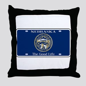 Nebraska License Plate Flag Throw Pillow