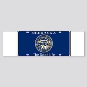 Nebraska License Plate Flag Bumper Sticker