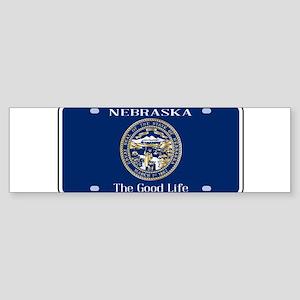 Nebraska License Plate Flag Bumper Sticker