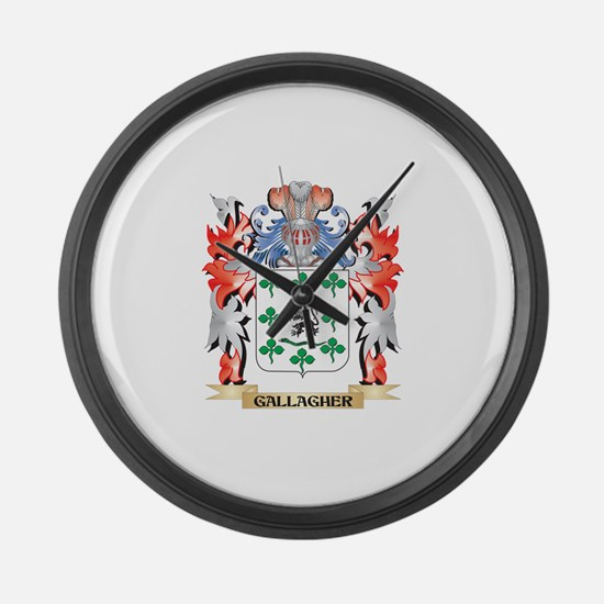 Gallagher Coat of Arms - Family C Large Wall Clock