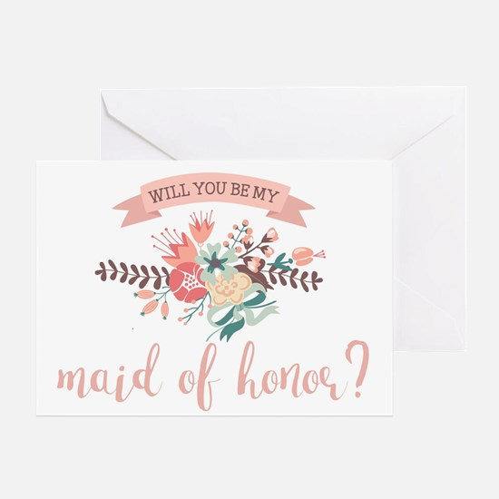 Elegant Floral Maid of Honor Greeting Cards