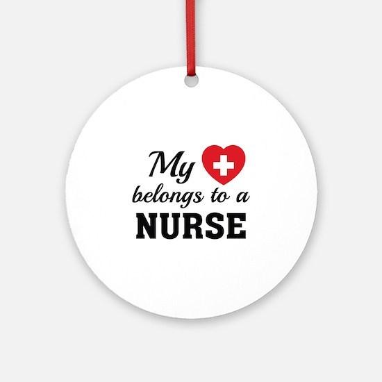 Heart Belongs Nurse Ornament (Round)