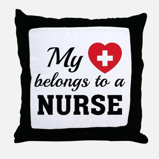 Heart Belongs Nurse Throw Pillow