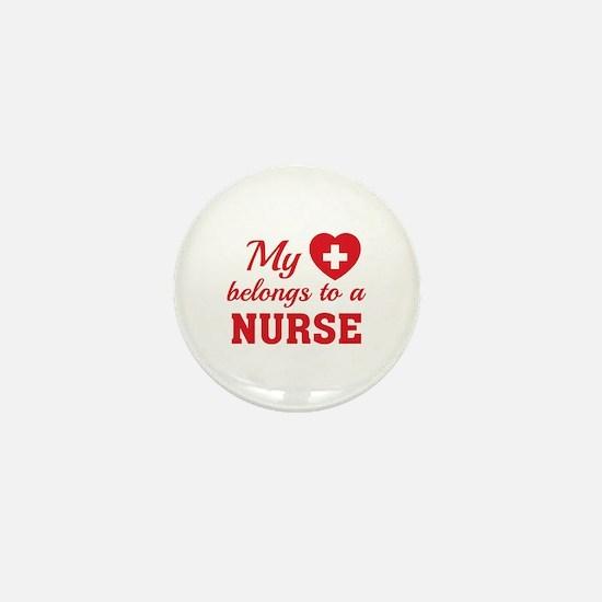 Heart Belongs Nurse Mini Button