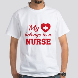 Heart Belongs Nurse White T-Shirt