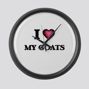 I Love My Goats Large Wall Clock