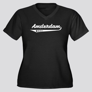 Amsterdam Netherlands Retro Logo Plus Size T-Shirt