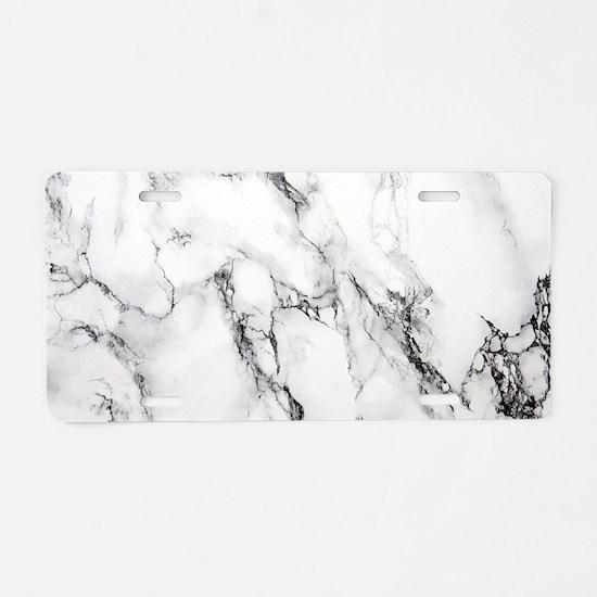 White Marble Aluminum License Plate