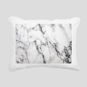 White Marble Rectangular Canvas Pillow