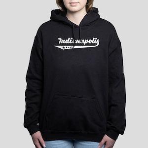 Indianapolis IN Retro Logo Women's Hooded Sweatshi