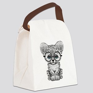 Cute Snow Leopard Cub Wearing Glasses Canvas Lunch
