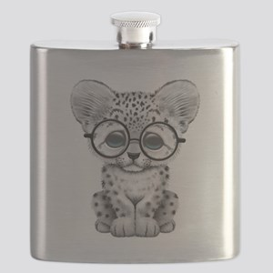 Cute Snow Leopard Cub Wearing Glasses Flask