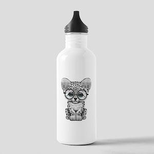 Cute Snow Leopard Cub Wearing Glasses Water Bottle