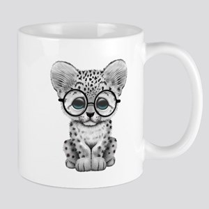 Cute Snow Leopard Cub Wearing Glasses Mugs