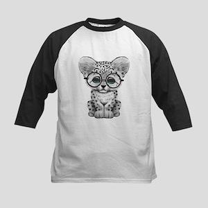 Cute Snow Leopard Cub Wearing Glasses Baseball Jer
