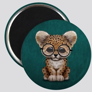 Cute Baby Leopard Cub Wearing Glasses Magnets