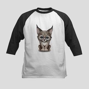 Cute Baby Lynx Cub Wearing Glasses Baseball Jersey