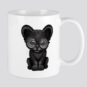 Cute Baby Black Panther Cub Wearing Glasses Mugs