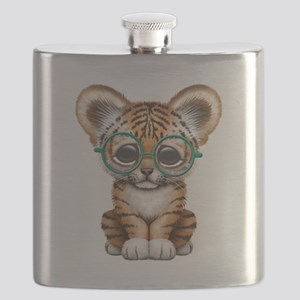 Cute Baby Tiger Cub Wearing Glasses Flask