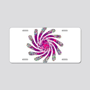 Pink Twisted Fan Aluminum License Plate