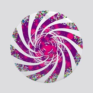 Pink Twisted Fan Round Ornament