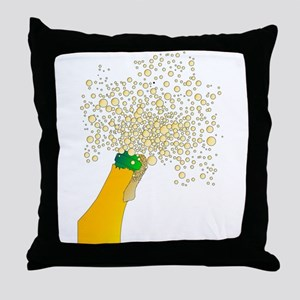 Frothy Champagne Bottle Top Throw Pillow