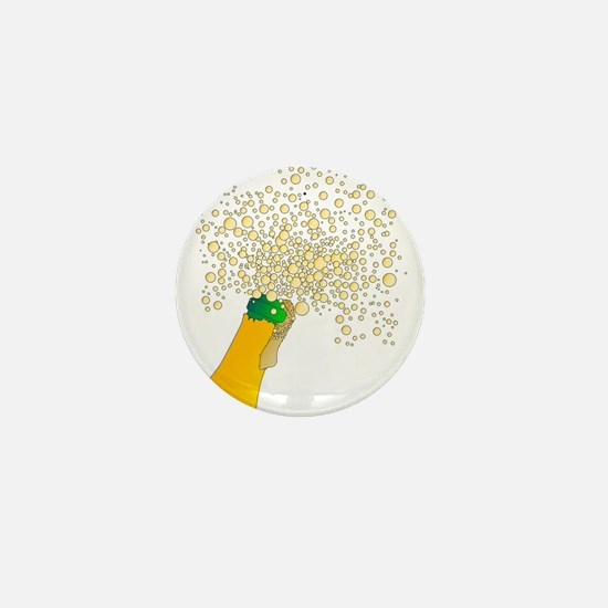 Frothy Champagne Bottle Top Mini Button
