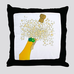 Bubbly Bottle And Cork Throw Pillow