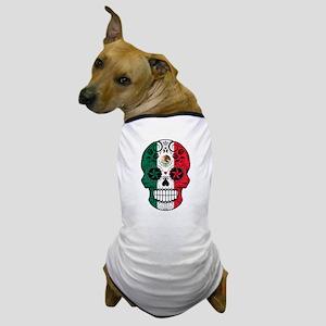 Mexican Sugar Skull with Roses Dog T-Shirt