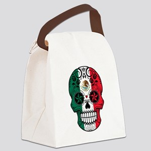 Mexican Sugar Skull with Roses Canvas Lunch Bag
