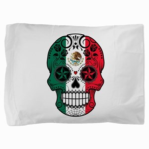 Mexican Sugar Skull with Roses Pillow Sham
