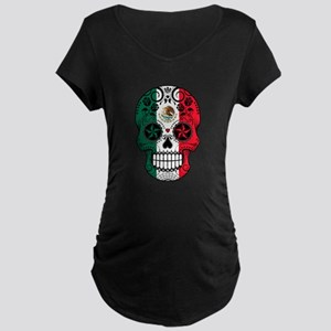 Mexican Sugar Skull with Roses Maternity T-Shirt