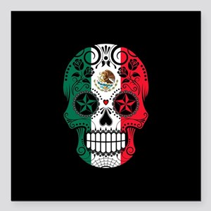 Mexican Sugar Skull with Roses Square Car Magnet 3
