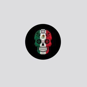 Mexican Sugar Skull with Roses Mini Button