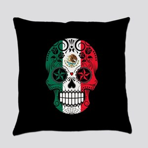Mexican Sugar Skull with Roses Everyday Pillow