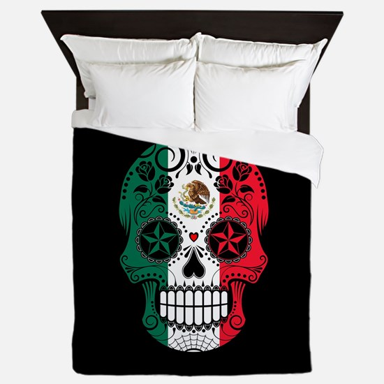 Mexican Sugar Skull with Roses Queen Duvet