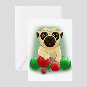 a pug christmas greeting cards pk of 20 - Cartoon Christmas Cards
